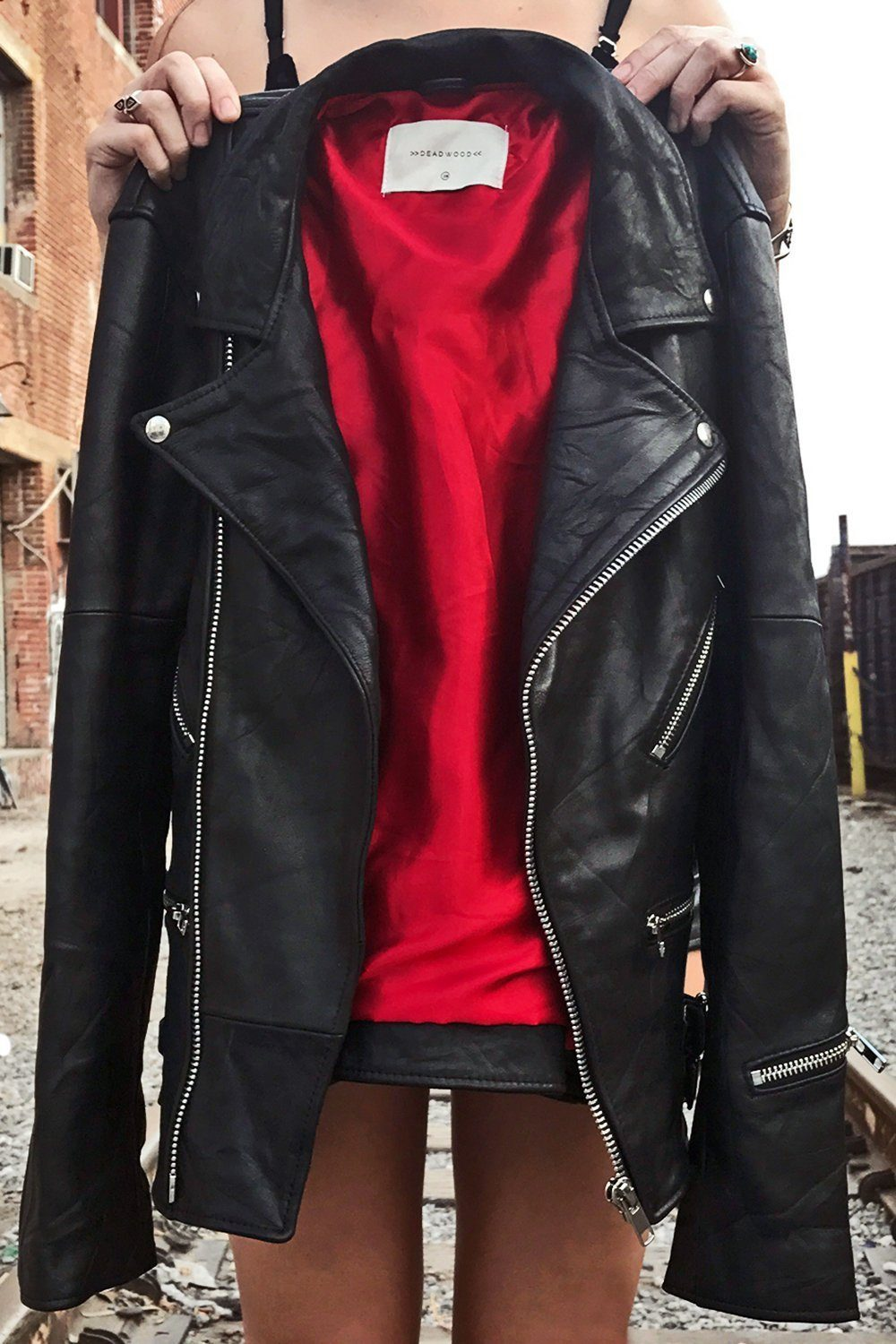 Recycled Leather Buttery Soft Vinnie Jacket (With Red Lining!)
