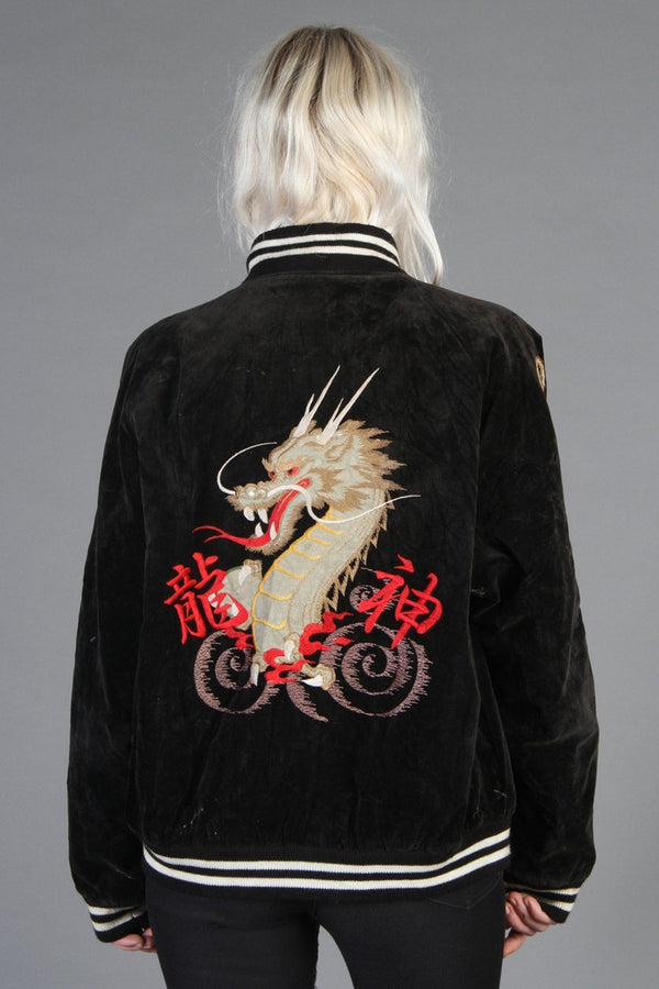 Mother of Dragons Black Velour Souvenir Jacket (With Red Lining!)