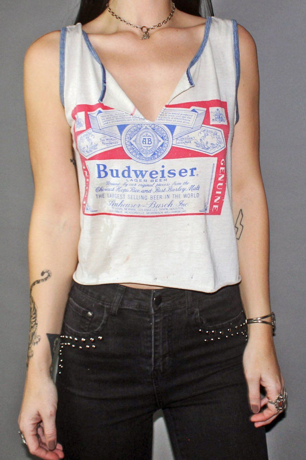 Tissue Thin & Tattered Budweiser 50/50 Tank Top
