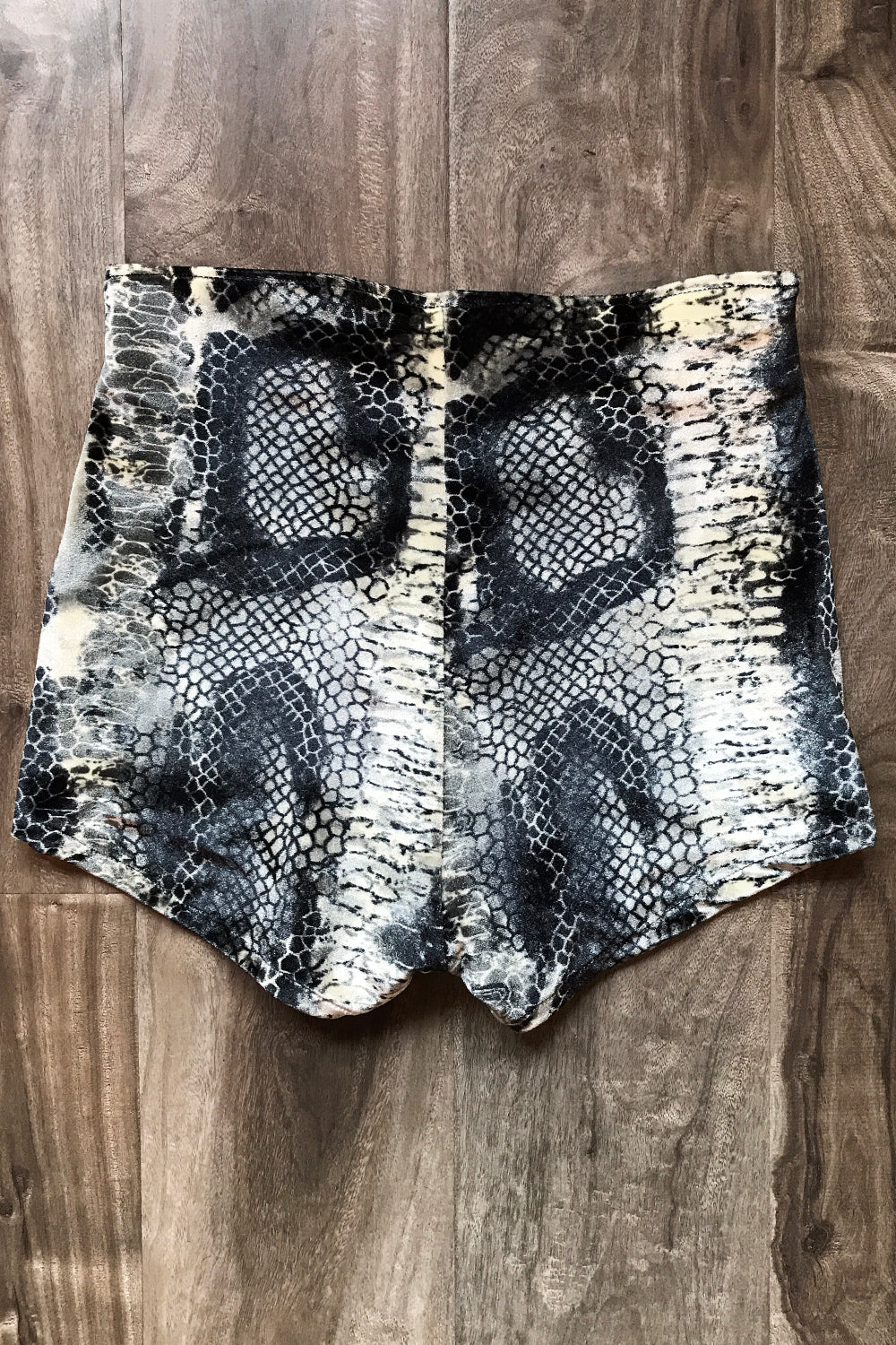 Velvet Grommet Shorts Size XS・Grey Cobra, bottoms, BAD VIBES, BACKBITE