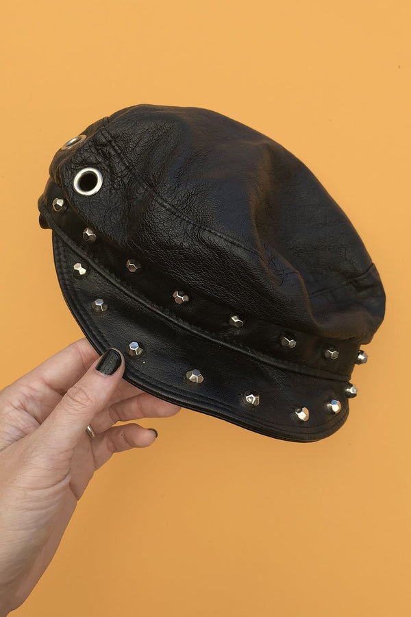 Vintage Studded Leather Biker Cap