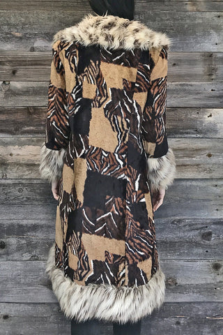 Almost Famous Amazing Faux Fur Animal Print Statement Coat