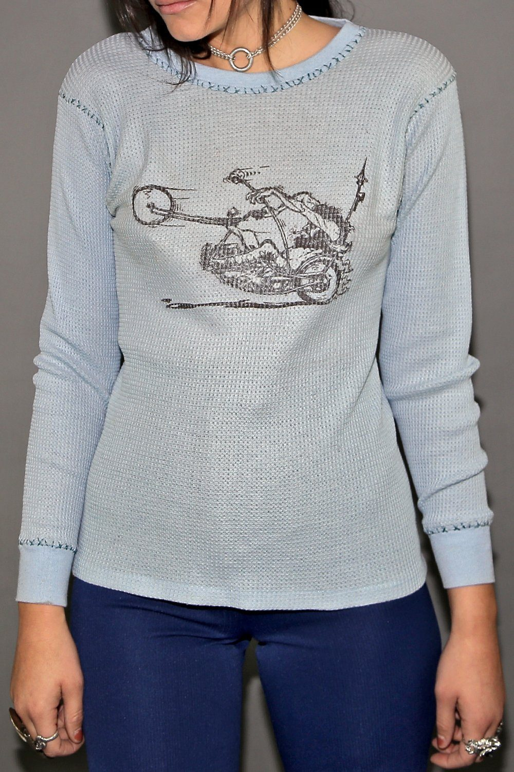 Vintage Chopper Cross Stitched Hems Thermal