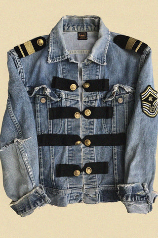 One Of A Kind Customized Military Style Thrashed Denim Jacket
