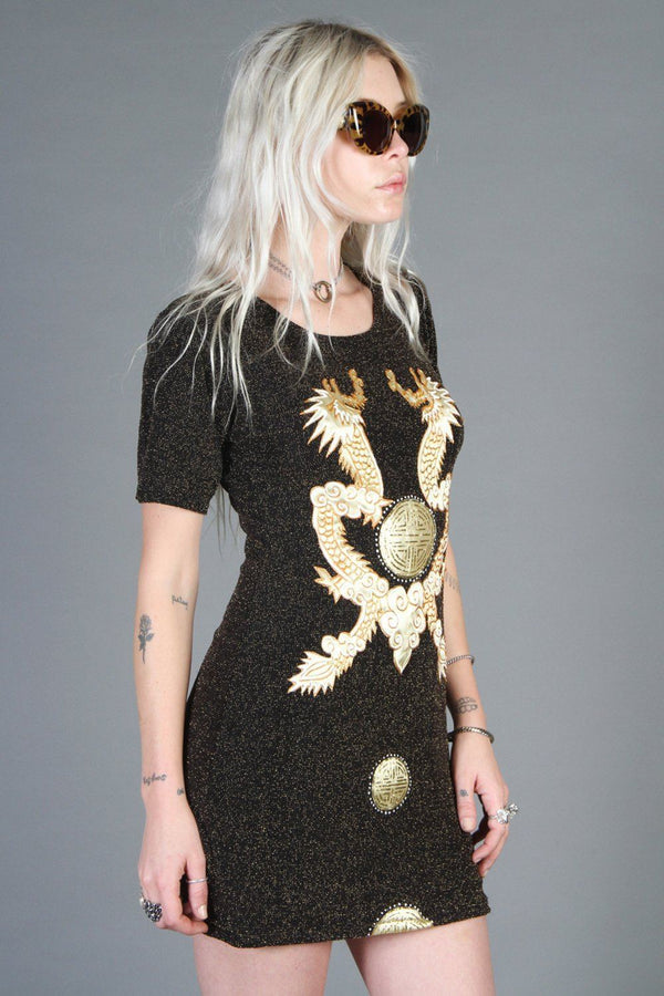 Double Dragon Slinky Metallic Mini Dress