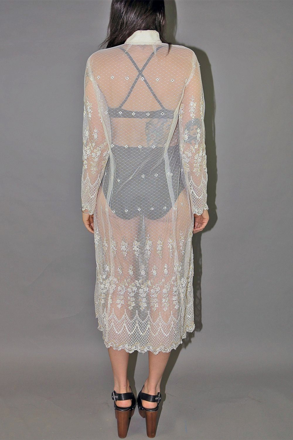 Spiderwebs and Roses Sheer Hand Beaded and Embroidered Dress