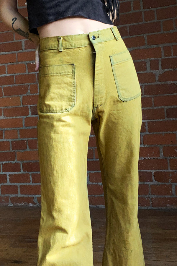 1970s Deadstock Overdyed Chartreuse Pants, bottoms, BACKBITE, BACKBITE