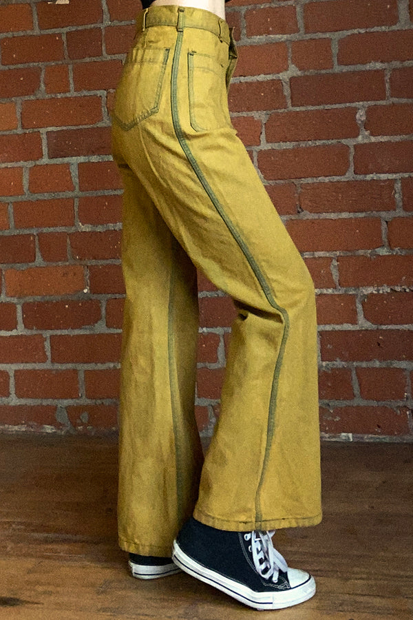 1970s Deadstock Overdyed Chartreuse Pants