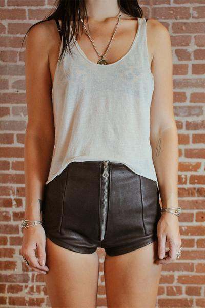 SNAKE CHARMER Zip-Front Snakeskin Printed Leather Hot Shorts