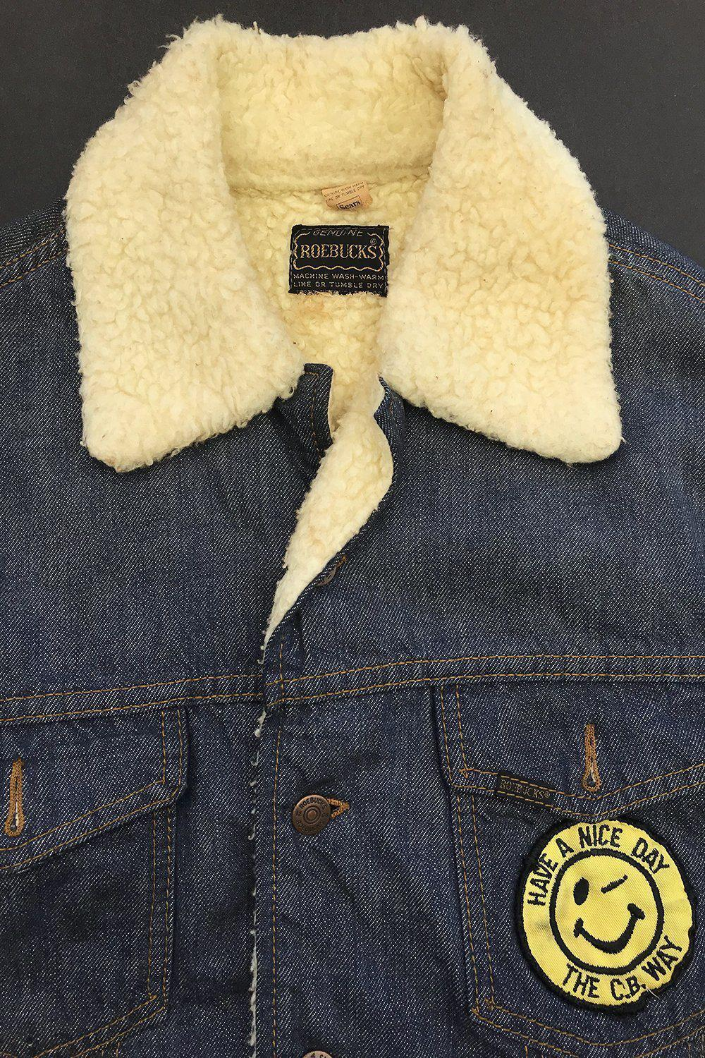 1970s Have A Nice Day Sears Roebucks Faux Shearling Lined Denim Jacket