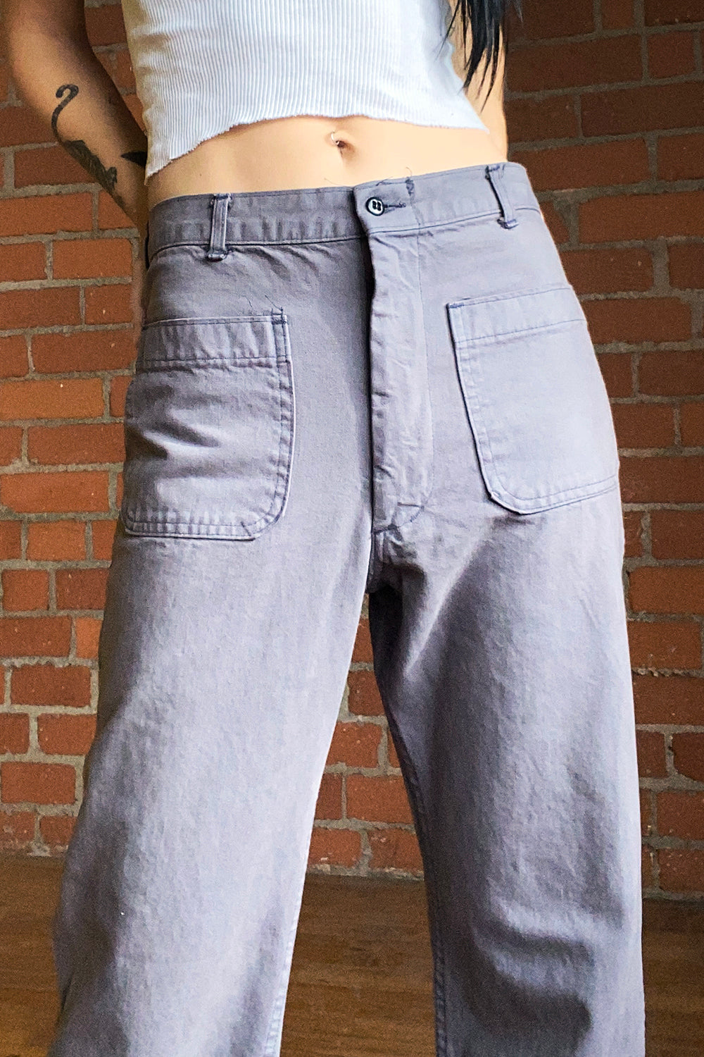 1970s Deadstock Overdyed Grey Pants, bottoms, BACKBITE, BACKBITE