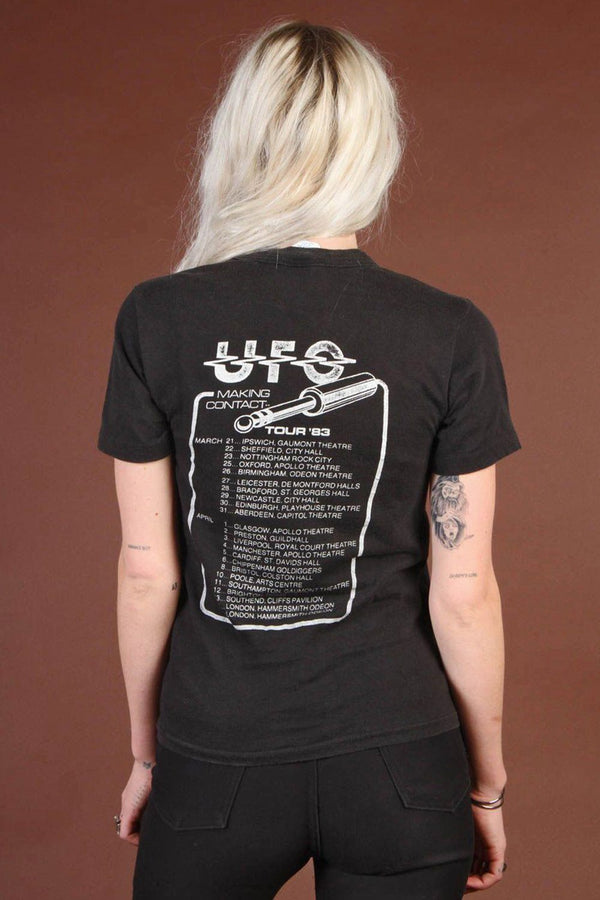 "1983 UFO Soft 'N Thin ""Making Contact"" European 50/50 Tour Tee"