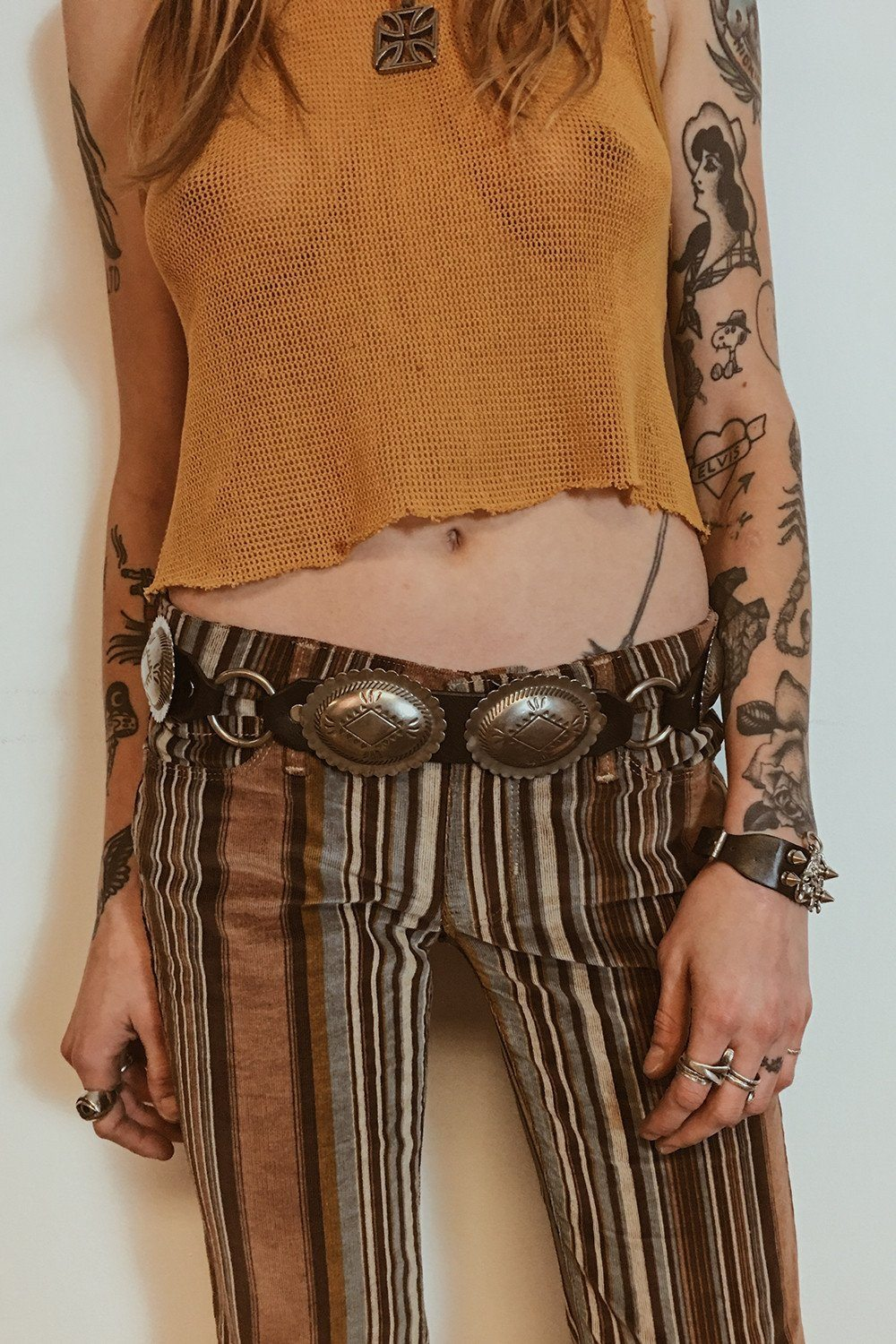 Black Leather Solid Concho Belt by Hell Bent Leather (Various Sizes Available), Accessories, Hell Bent Leather