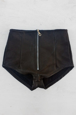 Black Mamba Perfect Black Leather Zip Front Hot Shorts
