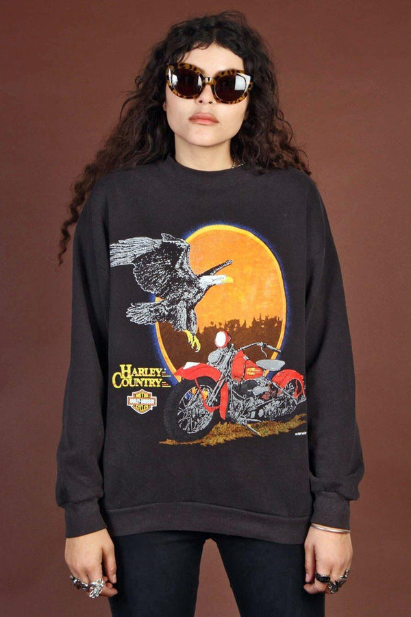 1980s Soft 'N Faded Harley Country 50/50 Sweatshirt