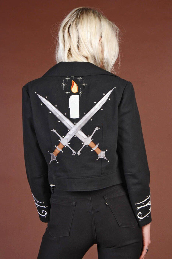 Scorpion Swords Black Denim Jacket Handcrafted by Rusty Cuts