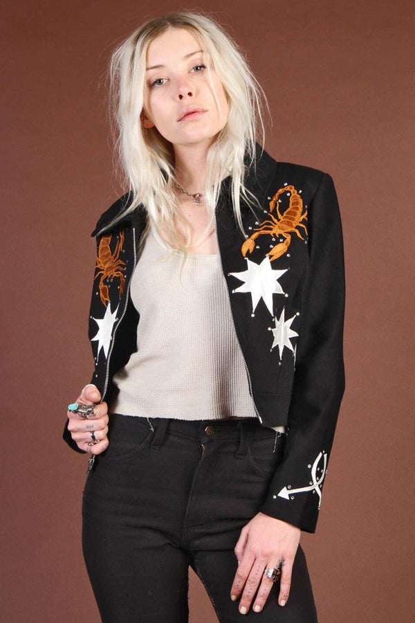 The Scorpion Black Denim Jacket Handcrafted by Rusty Cuts