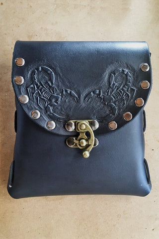PRE-ORDER Handmade Double Scorpion Riveted Stash Bag