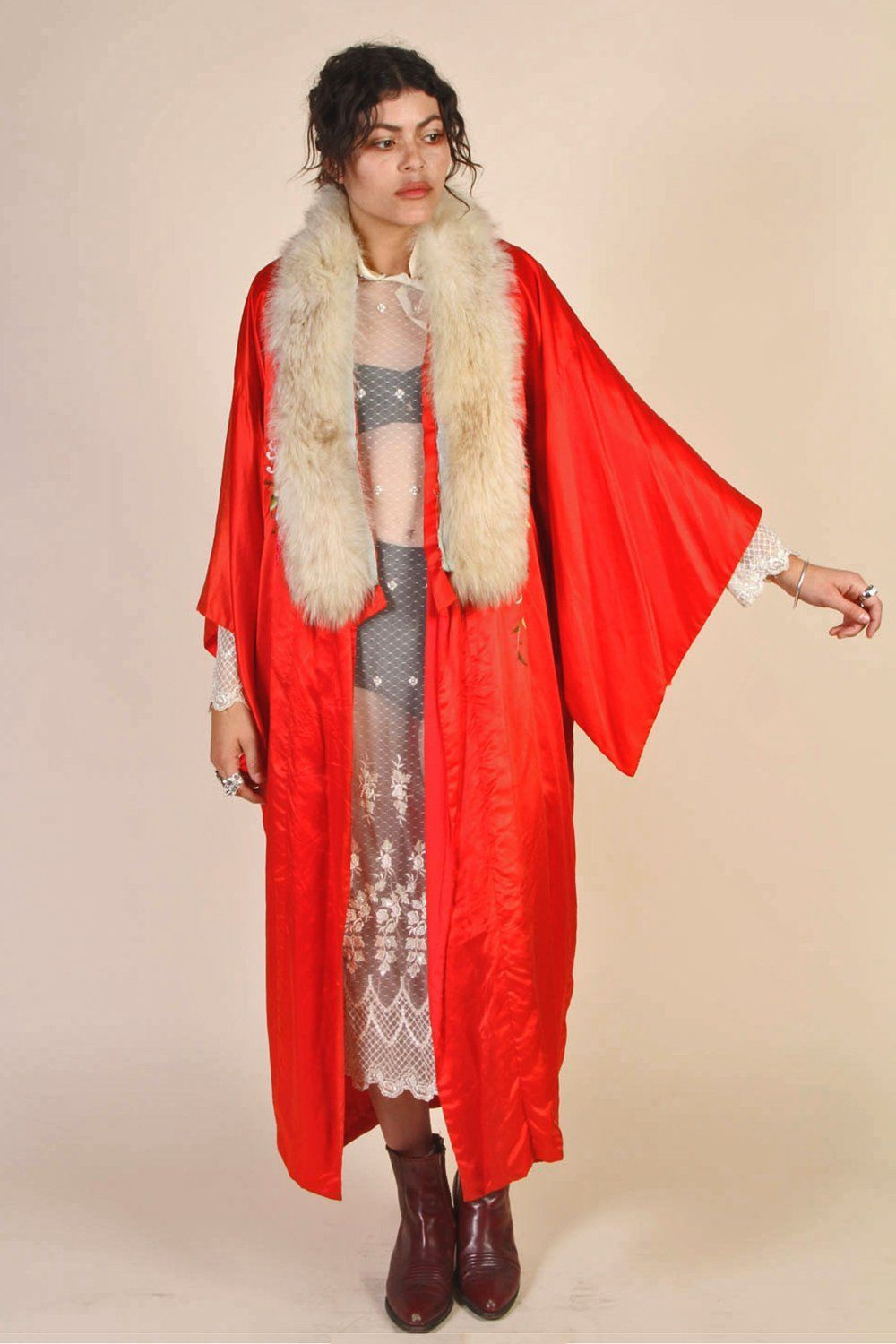 Pure Silk Hand Embroidered 1970's Kimono with Fox Fur Collar
