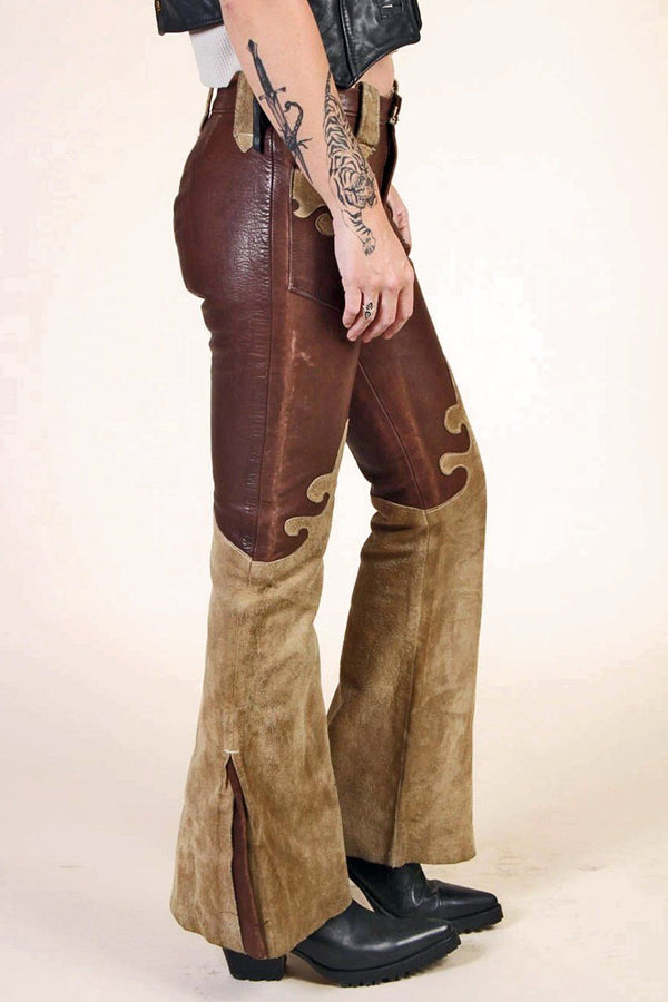 -Woodstock- Handcrafted Two-Toned Buttery Leather Pants, bottoms, BACKBITE, BACKBITE