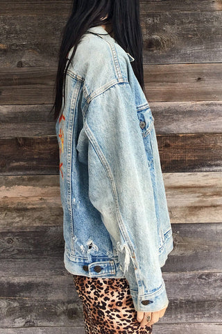 Original Hand-Painted RUSH Thrashed Levi's Denim Jacket