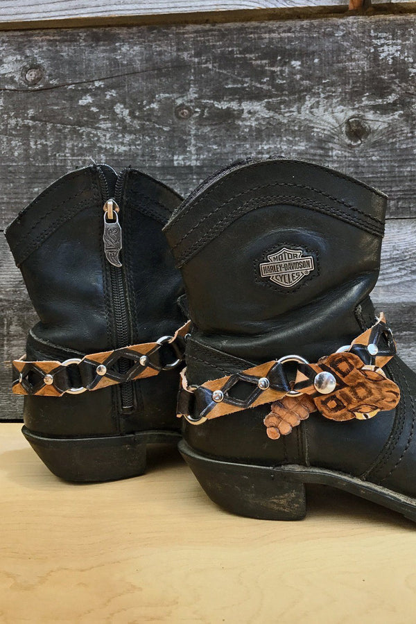 Black Wolff Leather Handmade Rattlesnake Bootstraps, Accessories, BLACK WOLFF, BACKBITE