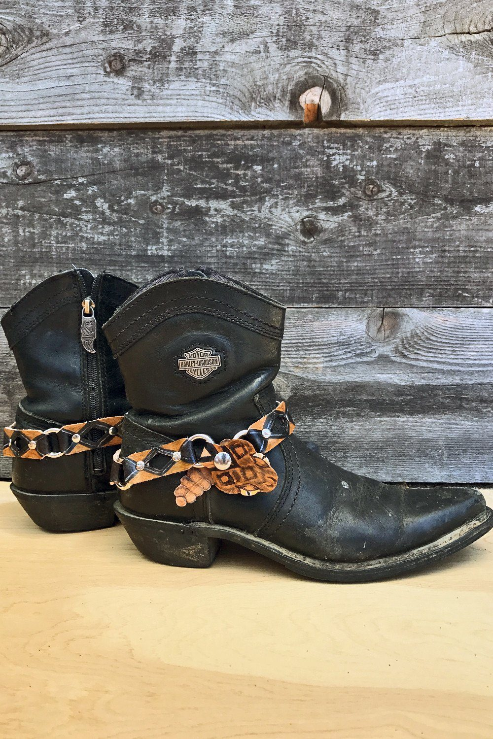 Handcrafted Leather Rattlesnake Bootstraps, Accessories, BLACK WOLFF
