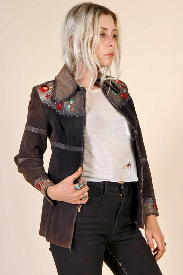 Mystic Mountain 60's Embroidered Suede & Leather Jacket