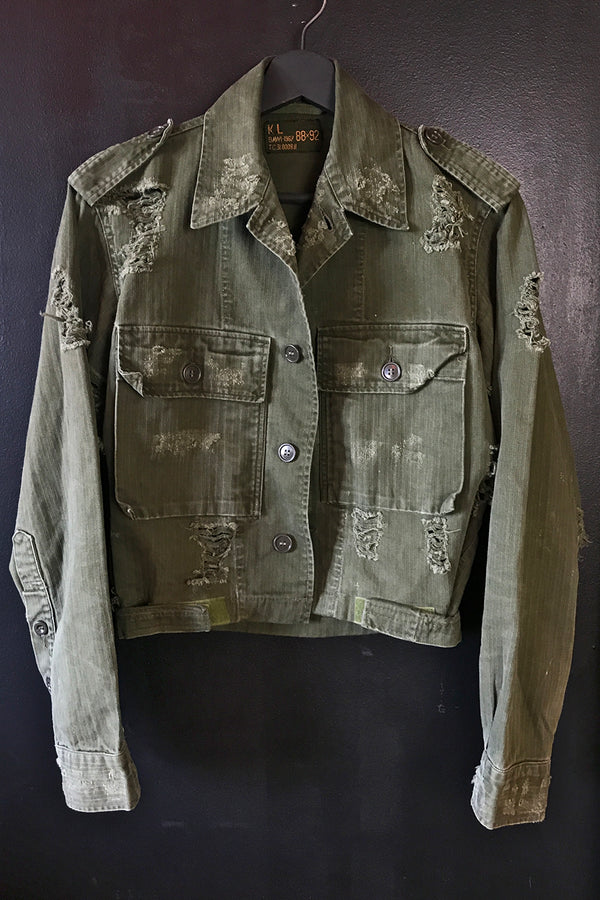 Custom OOAK 1960s Worn & Thin Cropped Green Military Jacket