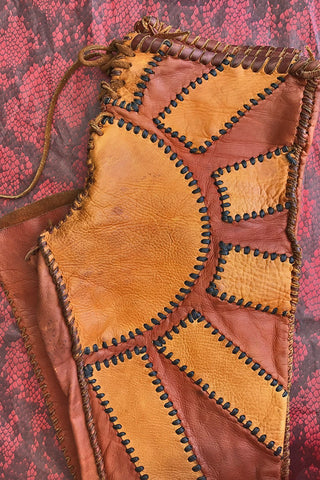 -WOODSTOCK GOLD- 1960s OOAK Collector's Sunburst Whipstitched Deerskin Leather Pants