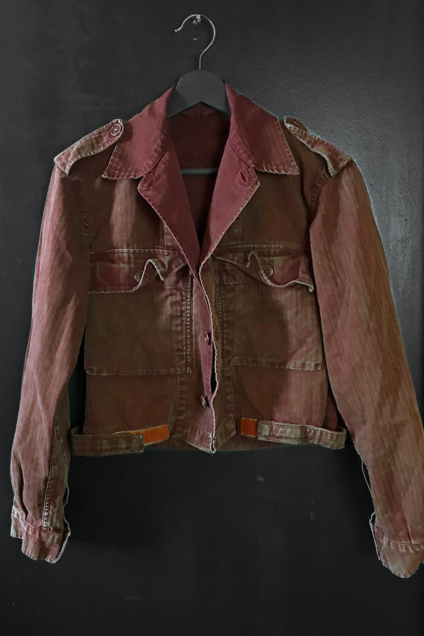Custom OOAK 1960s Worn & Thin Cropped Maroon Military Jacket