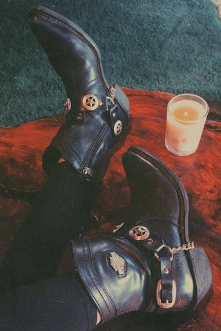 PRE-ORDER Handmade Black Leather Concho Bootstraps