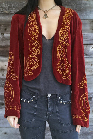 Antique Early 1900s Velvet Embroidered Jacket by The Henderson Ames Co.