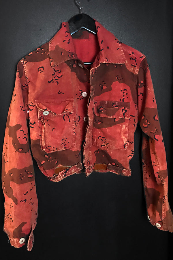 Custom OOAK 1960s Worn & Thin Cropped Red Camo Leopard Military Jacket