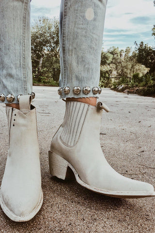 PSKaufman Leather Chelsea Boots in Bone White