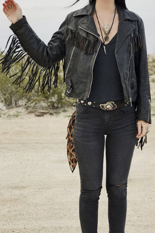 Black Magic Perfectly Fitted and Broken-In Fringe Leather Harley Jacket