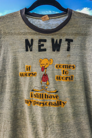 "1970s ""I Still Have My Personality"" Hilarious Paper Thin 50/50 Ringer Tee"