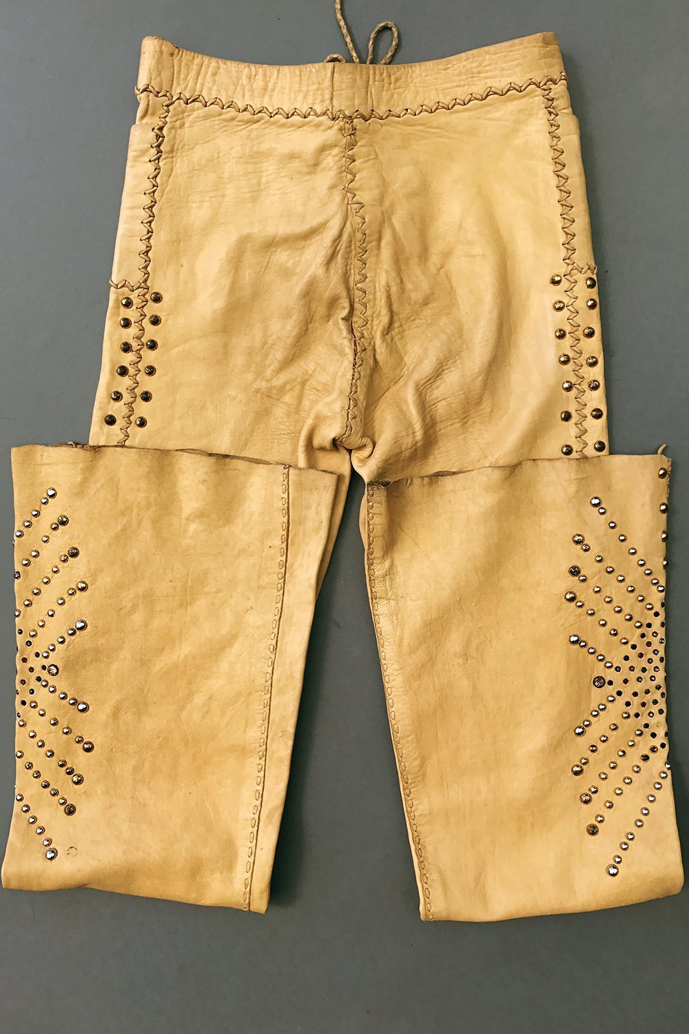 Extremely Rare ? 1960s OOAK Studded North Beach Leather Whipstitched Leather Pants, bottoms, BACKBITE