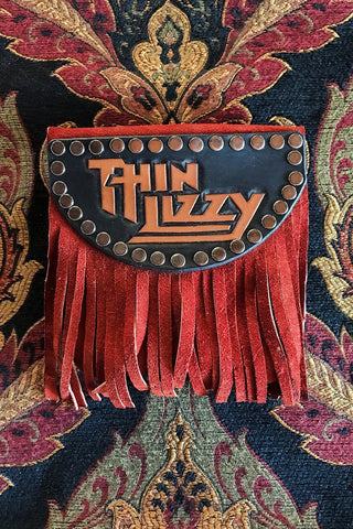 Handcrafted Thin Lizzy Fringed Leather Stash Bag by Trippy Tree