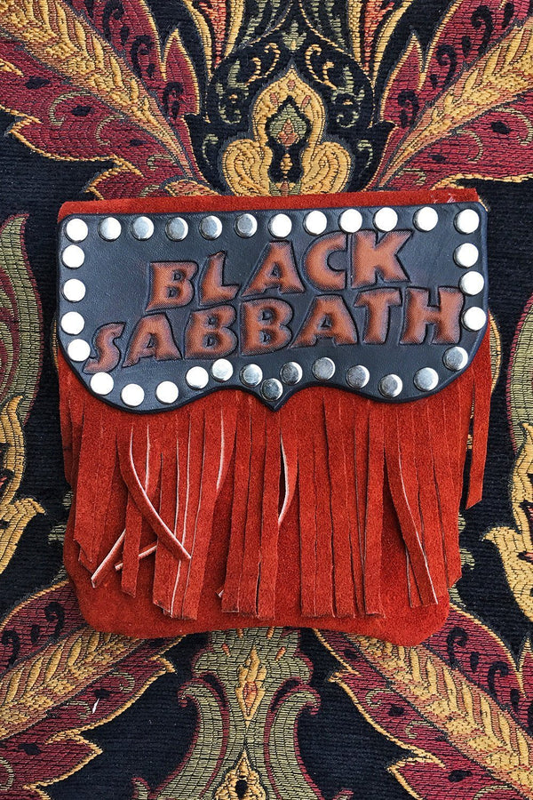 Handcrafted Black Sabbath Fringed Leather Stash Bag by Trippy Tree, Accessories, trippy tree leather, BACKBITE