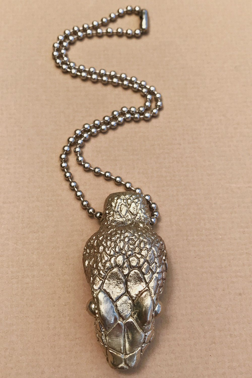 PRE-ORDER Serpents Rise Talisman: Solid White Bronze Snake Head Pendant On Ball Chain by Cult Sisters, Jewelry, cult sisters, BACKBITE