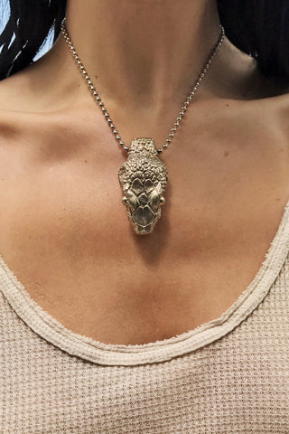PRE-ORDER Serpents Rise Talisman: Solid White Bronze Snake Head Pendant On Ball Chain by Cult Sisters