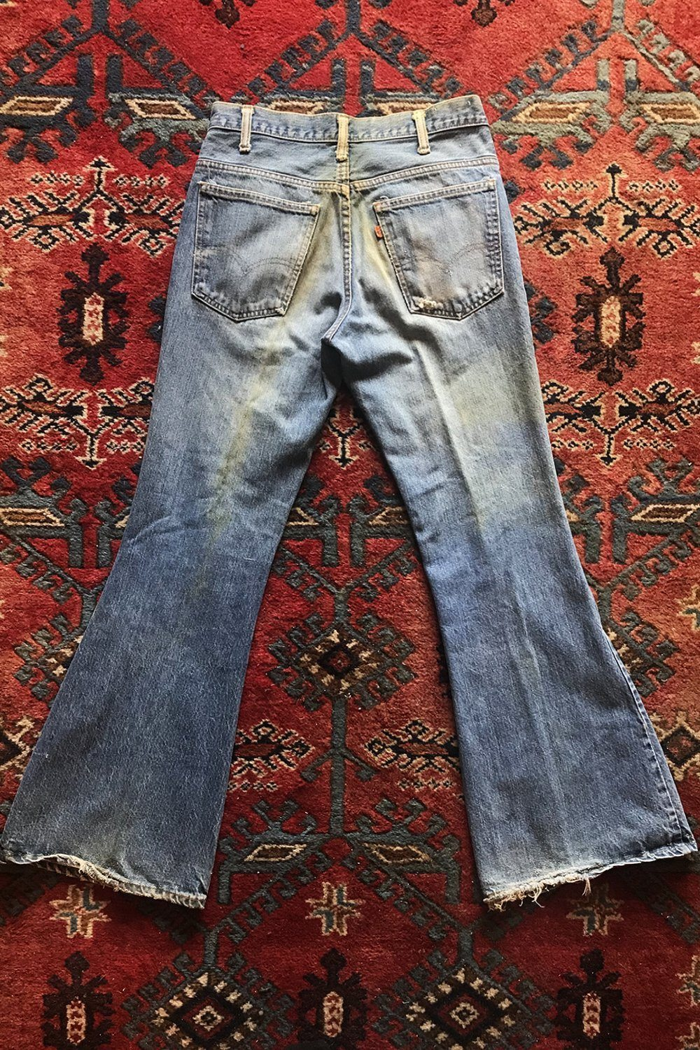 Vintage Levi's Perfectly Worn and Faded Orange Tab Flared Jeans