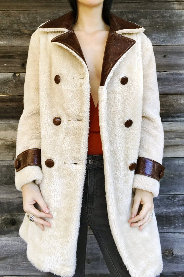 Vegan Shearling and Faux Leather Dream Coat