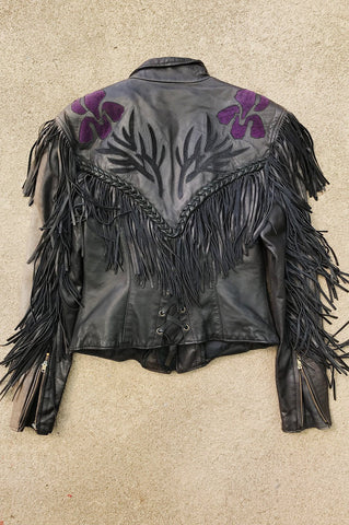 A Wild Heart Fringed and Braided Beautifully Faded Leather Jacket