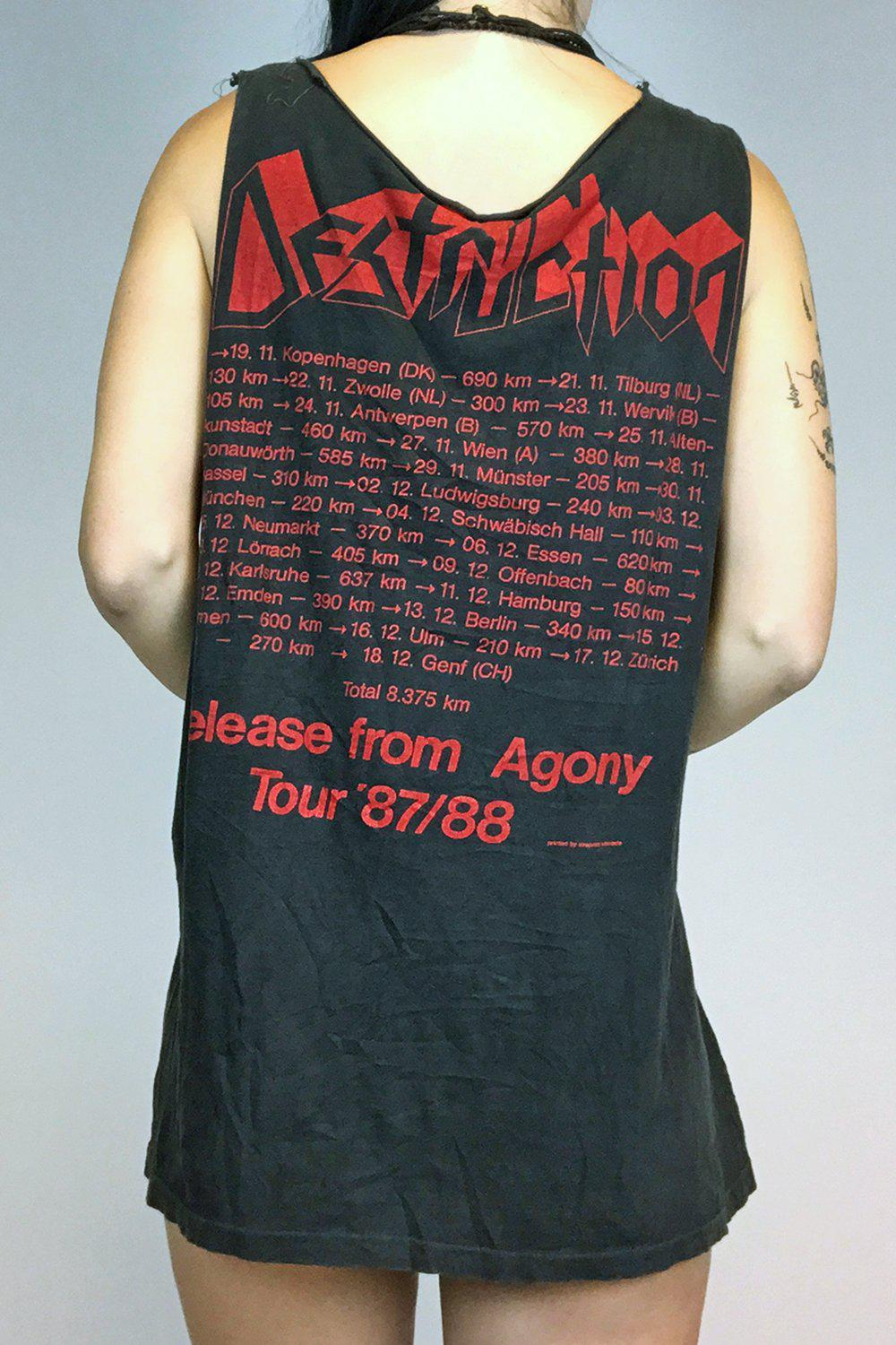 1987 Destruction Release From Agony Paper Thin Tour Tee, Tops, BACKBITE, BACKBITE