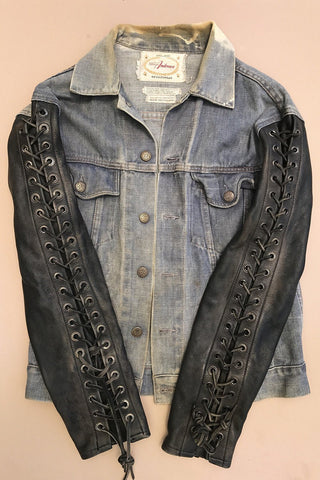 -HELLRAISER- Customized Denim Jacket w/ Grommeted Leather Sleeves by Hell Bent Leather
