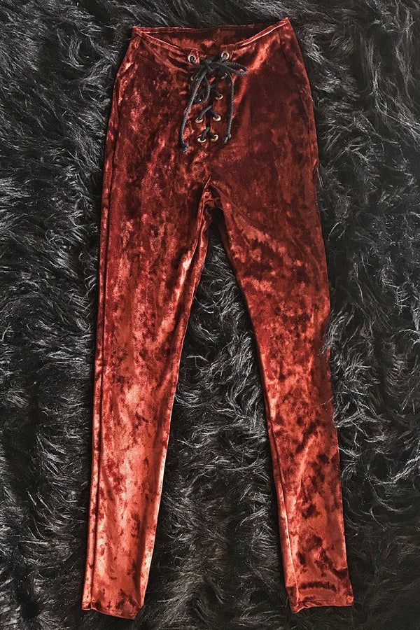 *In Stock Now!* Copper Velvet Grommet Pants Size S, bottoms, BAD VIBES, BACKBITE