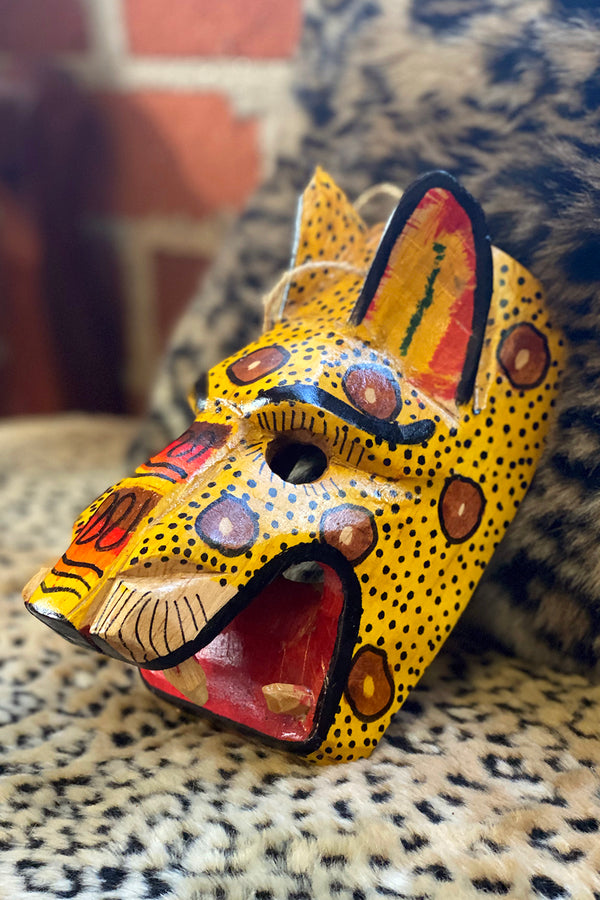 Handcrafted Yellow Jaguar Mayan Dance Mask