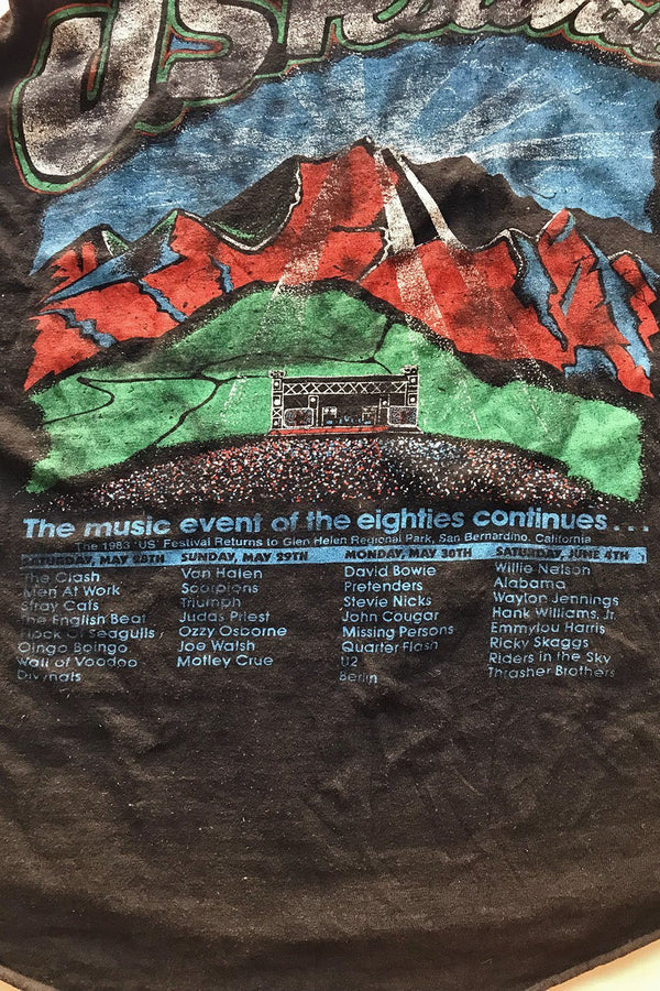 Rare 1983 Us Festival Soft 'N Worn Tee (The Clash, Scorpions, Judas Priest, Ozzy, Bowie, Stevie Nicks, Willie Nelson, Etc!)